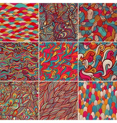 Set of 9 colorful wave patterns seamlessly vector