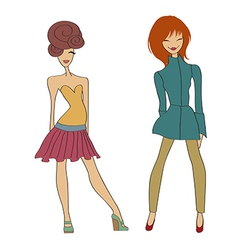 Romantic fashion girls vector
