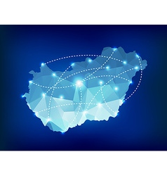Hungary country map polygonal with spot lights vector