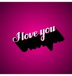 Handwritten i love you retro label vector