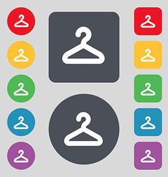 Hanger icon sign a set of 12 colored buttons flat vector
