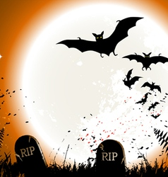 Halloween background destroyed cemetery in full mo vector