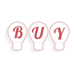 Concept of buy word combined with light bulb vector