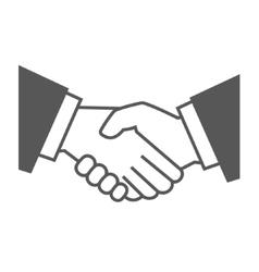 Gray handshake icon on white background vector