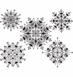 Set of beautiful different snowflakes vector