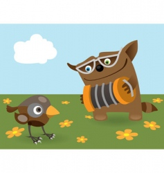Cat and sparrow vector