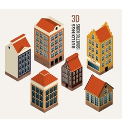 Pretty houses architecture isometric 3d vector