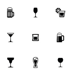 Alcohol 9 icons set vector