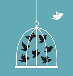 Image of a bird in the cage and outside vector