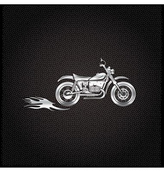 Vintage silver motorcycle with flames graphic vector