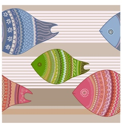Seamless funny colorful fishes vector