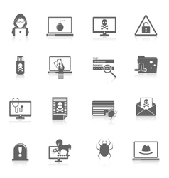 Hacker icons black vector