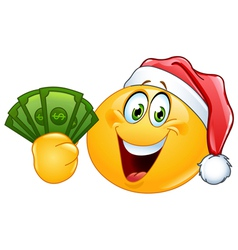 Emoticon with santa hat and dollars vector