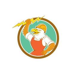 Bald eagle electrician lightning bolt circle vector