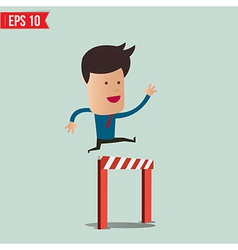 Business man jumping over an obstacle on the way vector