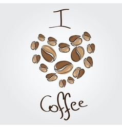 Love coffee coffee beans heart vector