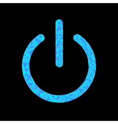 Blue power button icon black background polygonal vector