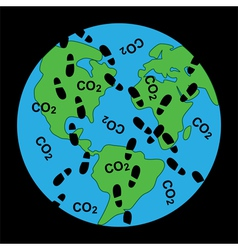 Dirty footprints on earths ecology vector
