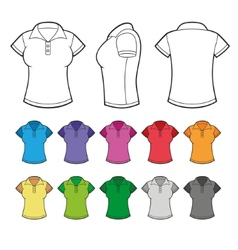 Set of colorful female polo shirts vector