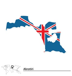 Map of akrotiri with flag vector