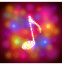 Note symbol from colorful bokeh background vector