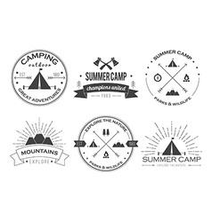 Set of vintage summer camp badges and other vector