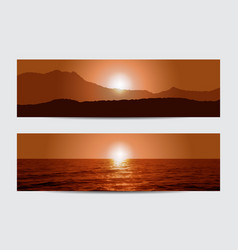Sunset banners vector