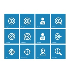 Target icons on blue background vector