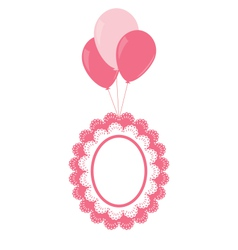 Lace baby frame on air balls vector
