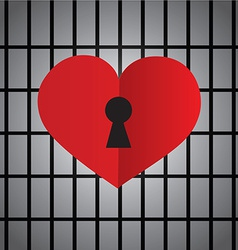 Locked heart with keyhole vector
