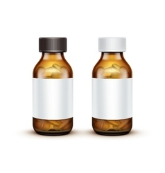 Glass medical bottle with tablets pills vector