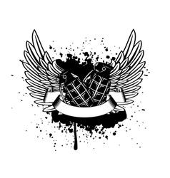 Wings with grenade vector