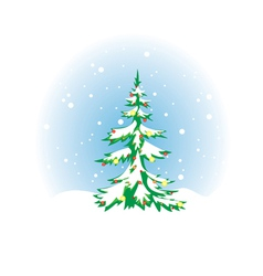Christmas tree with snow and decoration vector
