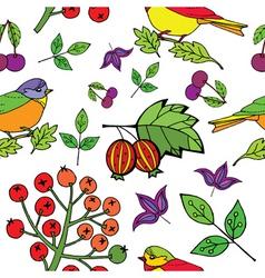 Bird  berries print vector