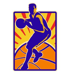 Basketball player dribbling ball retro vector
