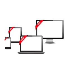 Set of digital devices with sale ribbons vector
