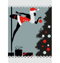 Christmas pole dancer vector