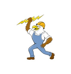 Bald eagle electrician lightning bolt standing vector
