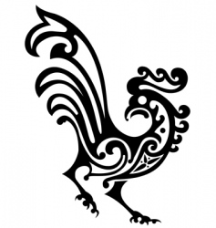 Ornamental rooster vector
