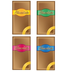 Chocolate in packing with coloured labels isolated vector