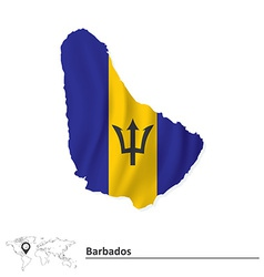 Map of barbados with flag vector