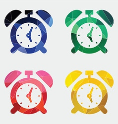 Alarm clock icon abstract triangle vector