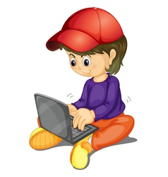A girl and laptop vector