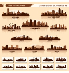 City skyline set 10 city silhouettes of usa 6 vector