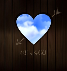 Heart shape cut into wood vector