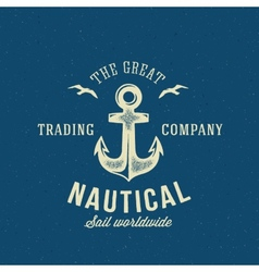 Nautical retro logo or label template vector