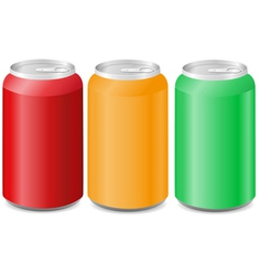 Coloured aluminum cans with soda vector