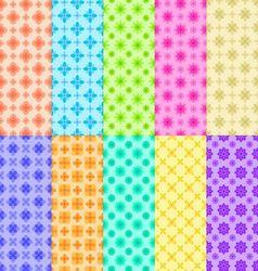 10 colorful flower patterns vector