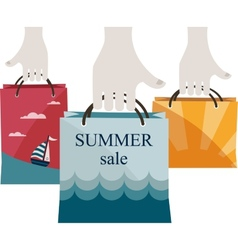 Hands holding shopping bags to promote sales vector
