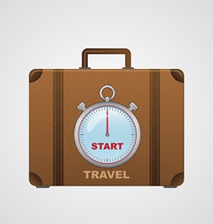 Start travel suitcase with timer vector